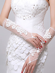 Elbow Length Fingerless Glove Lace Bridal Gloves Autumn Summer Appliques