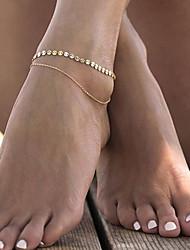 Недорогие -Жен. геометрический Ножной браслет - В форме листа Дамы, Мода Бижутерия Золотой Назначение Повседневные Спорт в свободное время