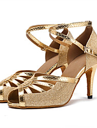 Women's Latin Dance Shoes Ballroom/Salsa Dancing Shoes Sandals Heels Indoor Buckle Silver Black Gold1 - 1 3/4 2 - 2 3/4 3 - Customizable