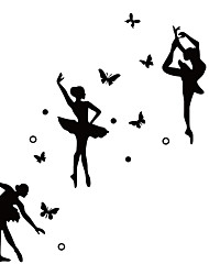 cheap -Ballet Famous Star Dancing Girl Wall Stickers Romantic Butterfly Vinyl Wall Decals   Yoga Sticker Home Decoration For Couple Room