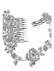 cheap -Crystal Tiaras Headbands Hair Combs Flowers Headwear Head Chain with Floral 1pc Wedding Special Occasion Anniversary Congratulations