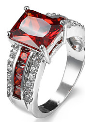 Ring Women's Euramerican Luxury 5 Colors Square Rhinestone Zircon Ring Daily Party Gift Movie Jewelry