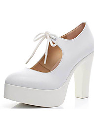 Women's Heels Formal Shoes Spring Fall Synthetic Microfiber PU Wedding Office & Career Lace-up Chunky Heel White Black 3in-3 3/4in