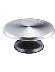cheap -Revolving Aluminium Alloy Cake Turntable 12'' Stand Silver Non-Slip Holder Wedding Cake Baking Decorating Tools Bakeware