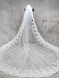 cheap -One-tier Lace Applique Edge Wedding Veil Cathedral Veils 53 Appliques Lace Tulle