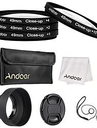 Andoer 49mm close-up Makro-Objektiv-Filter-Set mit Objektiv Zubehör Objektivtasche zusammenklappbare Linse Kapuze Linse Kappe Linse Kappe
