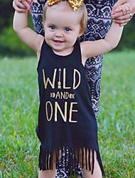 Baby Print Dress Cotton Summer Letter Tassel Vest Kids Girls Dresses Wild One Toddler Dress