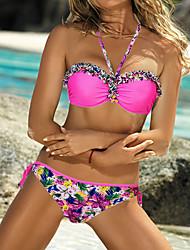 Недорогие -Женский Цветочный Бикини Купальники С цветами Однотонный,Хальтер Желтый Пурпурный