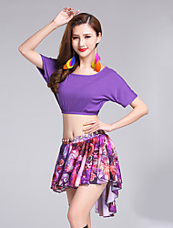 cheap -Belly Dance Outfits Women's Performance Modal Milk Fiber Pattern / Print Short Sleeve Natural Skirts Top