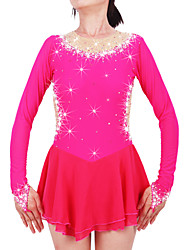 cheap -Figure Skating Dress Women's / Girls' Ice Skating Dress Fuchsia Spandex Rhinestone High Elasticity Performance Skating Wear Handmade