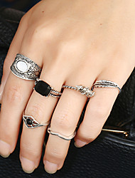 Women's Band Rings Ring Cuff Ring Rhinestone Circular Fashion Punk Hip-Hop Rock Metal Alloy Resin Mixed Material Alloy Circle Jewelry For
