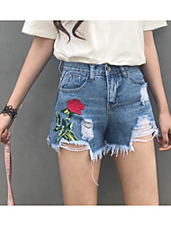 Women's High Waist Inelastic Shorts Pants,Cute Straight Embroidery