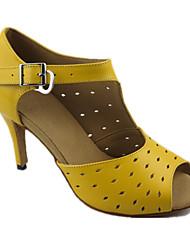 Недорогие -Для женщин Латина Натуральная кожа Сандалии Концертная обувь Шелковая нить На шпильке Желтый 8,5 см Персонализируемая