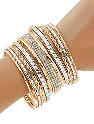 cheap -Women's Bangles Cuff Bracelet ID Bracelets Rhinestone Punk Multi Layer Costume Jewelry Fashion Bohemian Metal Alloy Rhinestones Circle