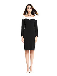 Womens Elegant  Patchwork Long Sleeve Contrast 2017 Slim Casual Work Office Business Party Bodycon Pencil Dress