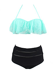 Womens Vintage High Waist Push Up Lace Ruffle Swimsuit Bikini
