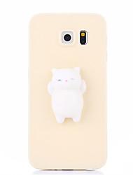Недорогие -Кейс для Назначение SSamsung Galaxy S7 edge S7 болотистый Своими руками Задняя крышка Кот 3D в мультяшном стиле Мягкий Силикон для S7