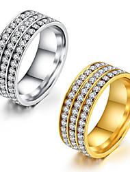 preiswerte -Damen Ring Kubikzirkonia , Klassisch Elegant Kubikzirkonia Titanstahl Kreisförmig Prinzessin Schmuck Hochzeit Jahrestag Party Party /