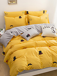 Duvet Cover Sets Solid 3 Piece Cotton Cloth Machine Made Cotton Cloth 1pc Duvet Cover 1pc Sham 1pc Flat Sheet