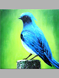 cheap -IARTS® Hand Painted Modern Abstract Blue Feather Bird Looking Into The Sky Oil Painting On Canvas with Stretched Frame Wall Art For Home Decoration