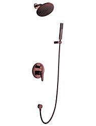 abordables -Robinet de douche Bronze huilé Montage mural Soupape céramique / Laiton / Mitigeur quatre trous