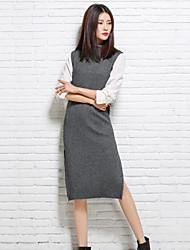 Women's Casual/Daily Simple Long Vest,Solid Round Neck Sleeveless Wool Spring Medium Micro-elastic