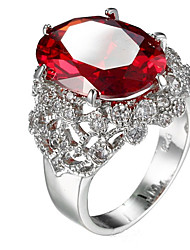 cheap -Ring Settings Ring Luxury Elegant Noble Zircon Square Red  Women's  Rhinestone Euramerican Fashion Daily Party Movie Jewelry