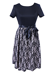 Women's Party Going out Club Sexy Vintage Street chic Sheath Swing DressColor Block Patchwork Lace Bow LooseRound Neck Above Knee Short Sleeve