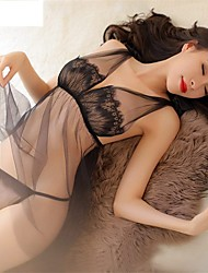 cheap -Women's Lace Lingerie Ultra Sexy Nightwear Solid-Thin Translucent Black Blushing Pink