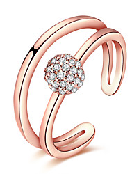 cheap -Women's Crystal / AAA Cubic Zirconia Crossover Ring - Rose Gold, Zircon, Copper Friends Statement, Personalized, Luxury Adjustable Silver / Rose Gold For Christmas / Christmas Gifts / Wedding / Alloy