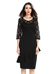 Women Vintage Ladylike Sexy Lace top 3/4 Sleeve O-Neck Peplum Tunic Bodycon Women Wear to Work Office Pencil Dress