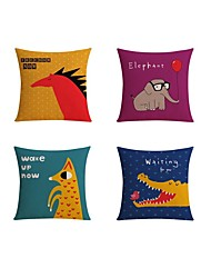 cheap -4 pcs Linen Pillow case Bed Pillow Body Pillow Travel Pillow Sofa Cushion Pillow Cover,Wildlife Graphic Prints Quotes & SayingsCasual