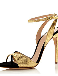 cheap -Women's Sandals Formal Shoes Leatherette Summer Wedding Party & Evening Dress Formal Shoes Split Joint Hollow-out Stiletto HeelSilver