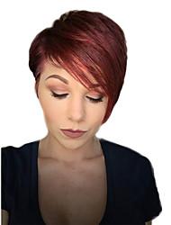 economico -Parrucche dei capelli umani corti dei capelli diretti della frangia obliqua della donna matura