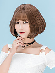 Cheap Women Synthetic Wigs Short Chestnut Brown Grey Straight Middle Part Bob Haircut With Bangs Natural Lolita Wig