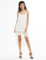 cheap -Women's Cute Lace Dress - Solid Colored Lace Cut Out