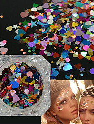 1Bottle Fashion Glitter Sequins Nail Art Shining Thin Slice Lovely Heart Star Irregular Colorful Pattern Design Women Beauty DIY Supplies Decoration