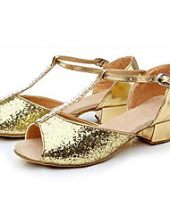 Feminino Latina Paetês Gliter Sapatilha Salto Ensaio/Prática Dourado Prata