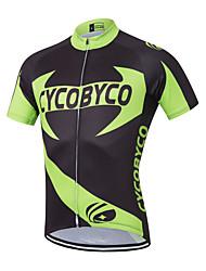 economico -Per uomo Manica corta Maglia da ciclismo - Nero / verde Floral / botanico Bicicletta Maglietta / Maglia, Asciugatura rapida Poliestere,