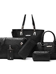 economico -Donna Sacchetti PU (Poliuretano) Montone Tote Set di borsa da 6 pezzi per Serata/evento Formale Per tutte le stagioni Blu Oro Bianco Nero