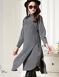 Women's Casual/Daily Simple Long Vest,Solid Round Neck Long Sleeves Wool Fall Medium Micro-elastic
