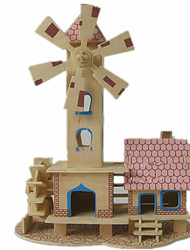 cheap -3D Puzzle Jigsaw Puzzle Wood Model Model Building Kit Famous buildings House DIY Wood Classic Unisex Gift