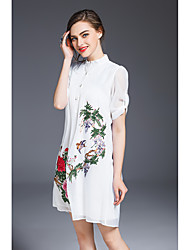 JOJO HANS Women's Daily Going out Vintage Chinoiserie Loose Dress,Flower/Floral Shirt Collar Above Knee Half Sleeves Polyester Spring Summer Mid