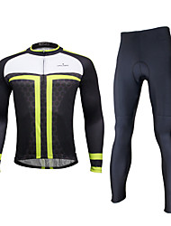 ILPALADINO Cycling Jersey with Tights Men's Long Sleeves Bike Tights Bib Tights Clothing Suits Waterproof Quick Dry Windproof Insulated