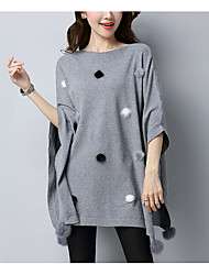 Women's Casual/Daily Long Pullover,Solid Round Neck Short Sleeves Cotton Fall Medium Micro-elastic