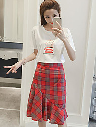 Women's Casual/Daily Casual Summer T-shirt Skirt Suits,Solid Pattern Plaid/Check Round Neck Short Sleeve