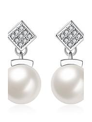 Women's Drop Earrings Imitation Pearl AAA Cubic Zirconia Basic Unique Design Dangling Style Rhinestone Heart Natural Geometric Friendship