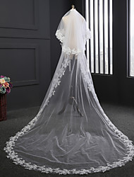 cheap -Two-tier Lace Applique Edge Wedding Veil Chapel Veils With Satin Flower Embroidery Tulle