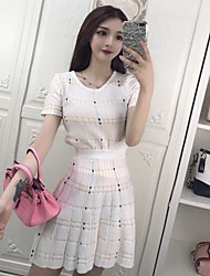 cheap -Women's Daily Casual Casual Summer T-shirt Skirt Suits,Solid Grid/Plaid Round Neck Short Sleeve Hollow Out Roman Knit