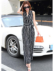 cheap -Women's Daily Work Casual Stripe V Neck Jumpsuits,Wide Leg Sleeveless Summer